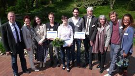 Schirmherrin des BFLK-Pflegepreises 2015, Frau Bettina Jahnke, Landesvorsitzende der BFLK-NRW, Marion Brand, Preisträger und Pre